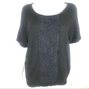 AGB Large Open Knit Sweater Lace Trim Pull Over